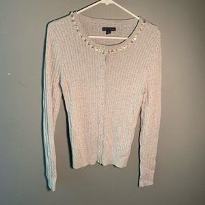 Tommy Hilfiger Cardigan CableKnit Light Gray Pearl